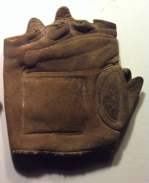 c. 1880's-90's Fingerless Glove Lefty Brown Front