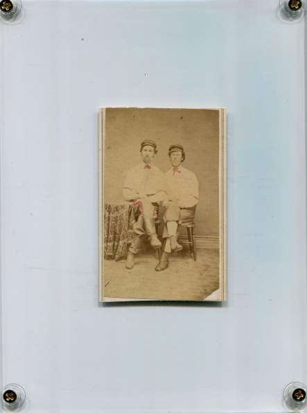 Two Early Base Ball Players in Studio 1860s-70s
