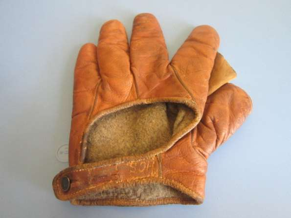 Early 1900's Orange Brown Asbestos Crescent Glove Back
