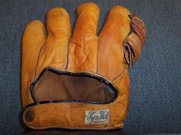 Ken Wel Orange Softball Glove Back